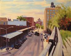 Architecture art,Impressionism art,Travel art,Representational art,oil painting,Little West 12th and Washington St