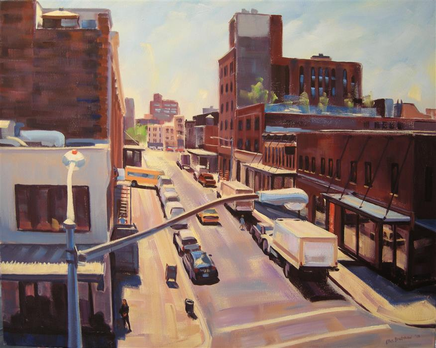 Discover Original Art by Ellen Bradshaw | Little West 12th and Washington St II oil painting | Art for Sale Online at UGallery