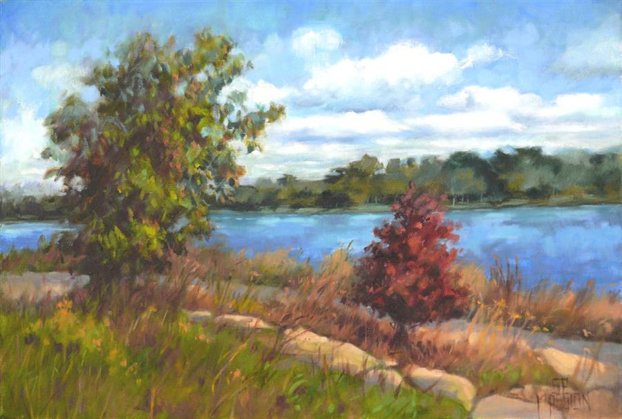 Discover Original Art by Suzanne Massion | Guarding River Park oil painting | Art for Sale Online at UGallery