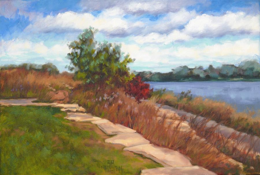 Discover Original Art by Suzanne Massion | River Park Overlook oil painting | Art for Sale Online at UGallery