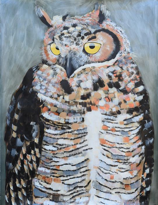 Discover Original Art by Natalie Wright | Great Horned Owl acrylic painting | Art for Sale Online at UGallery
