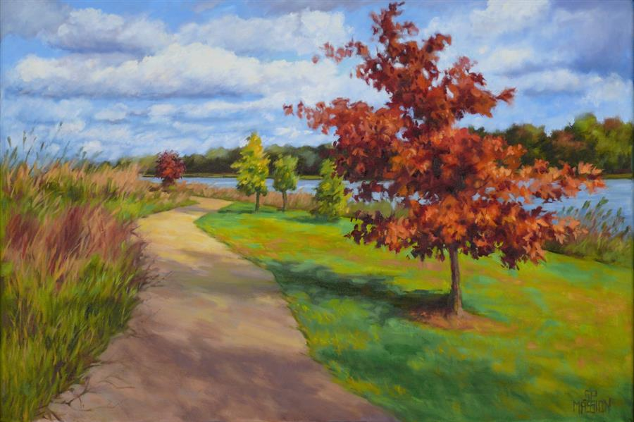 Discover Original Art by Suzanne Massion | Walking River Park oil painting | Art for Sale Online at UGallery