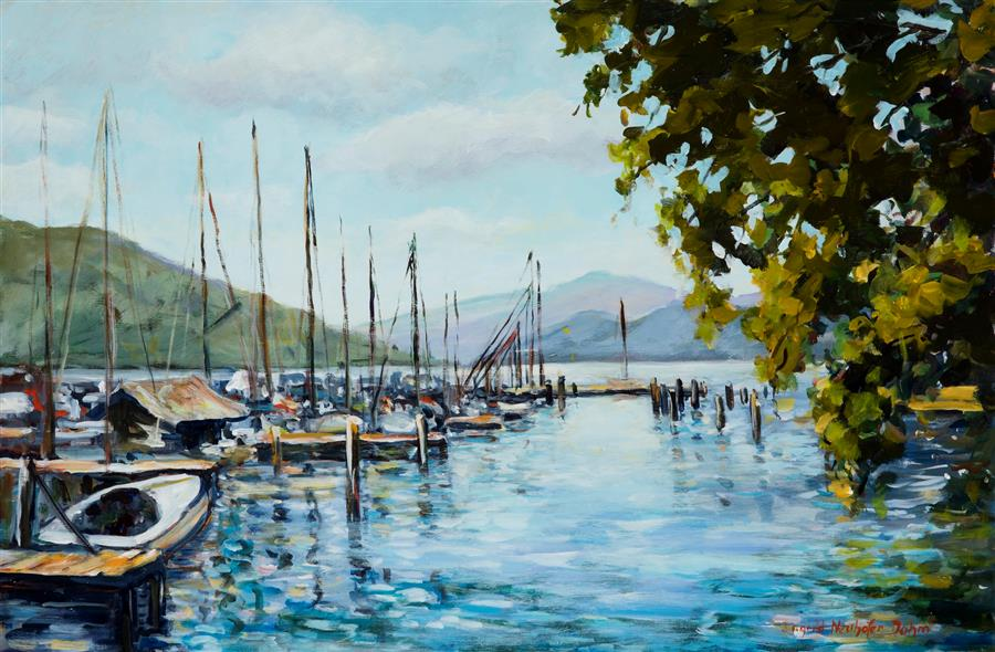 Original art for sale at UGallery.com | Attersee by INGRID DOHM | $2,525 | Acrylic painting | 24' h x 36' w | http://www.ugallery.com/acrylic-painting-attersee