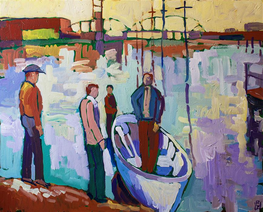 Original art for sale at UGallery.com | Figures with Small Boat by ROBERT HOFHERR | $1,100 | Acrylic painting | 24' h x 30' w | http://www.ugallery.com/acrylic-painting-figures-with-small-boat