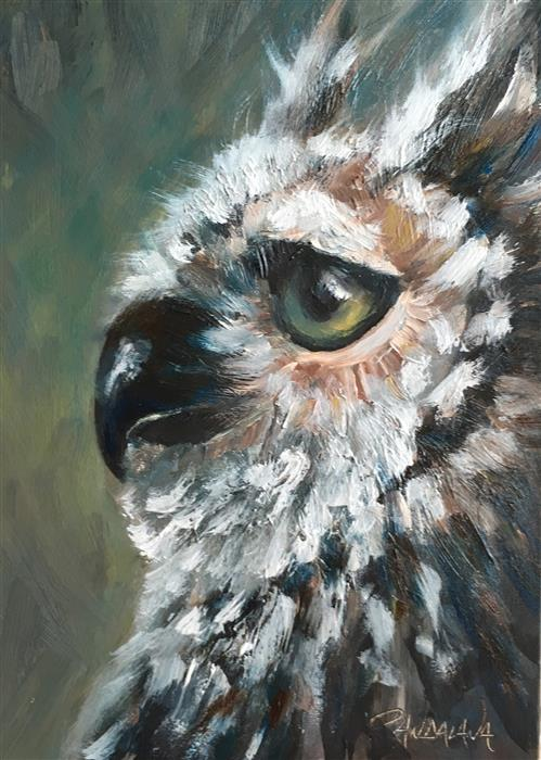 Discover Original Art by Pandalana Williams | Great Horned Owl oil painting | Art for Sale Online at UGallery