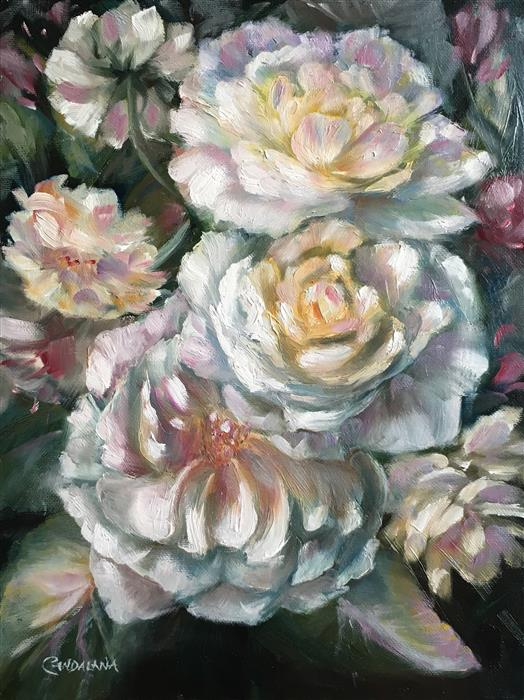 Discover Original Art by Pandalana Williams | Old Fashioned Roses oil painting | Art for Sale Online at UGallery
