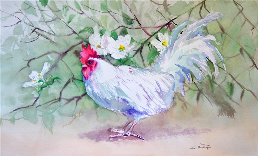 Discover Original Art by Suren Nersisyan | White Rooster and Dogwood watercolor painting | Art for Sale Online at UGallery