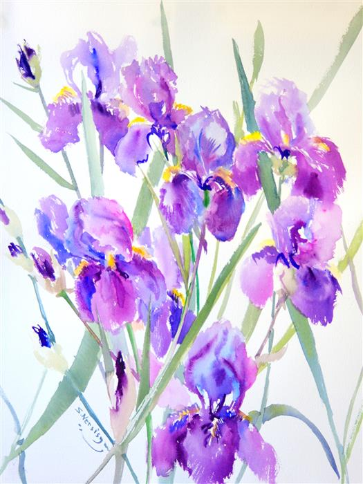 Discover Original Art by Suren Nersisyan | Irises from Garden watercolor painting | Art for Sale Online at UGallery