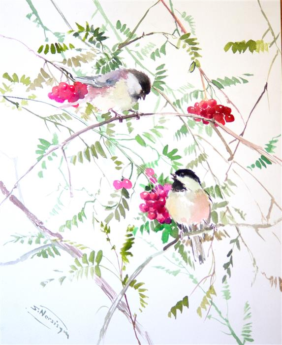 Discover Original Art by Suren Nersisyan | Chickadees and Berries watercolor painting | Art for Sale Online at UGallery