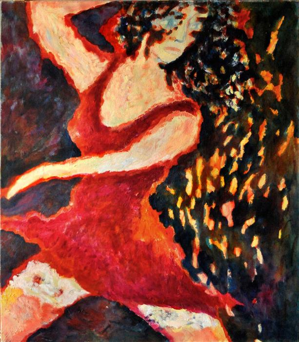 Original art for sale at UGallery.com | Dancing Lady by PETR LDIN | $2,625 | Oil painting | 55.1' h x 43.7' w | http://www.ugallery.com/oil-painting-dancing-lady
