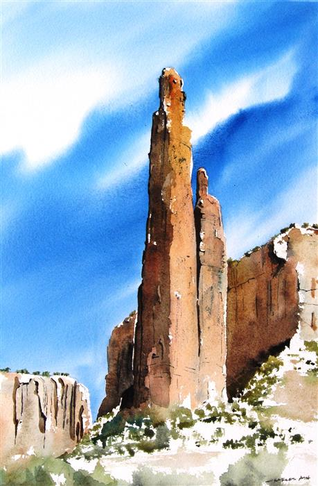 Discover Original Art by Charles Ash | Spider Rock watercolor painting | Art for Sale Online at UGallery