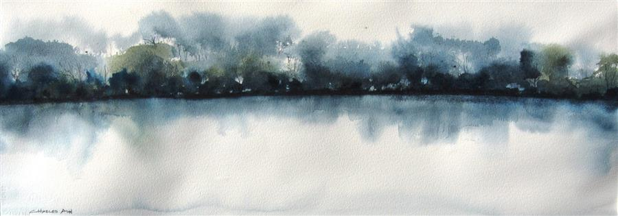Discover Original Art by Charles Ash | River Mist II watercolor painting | Art for Sale Online at UGallery