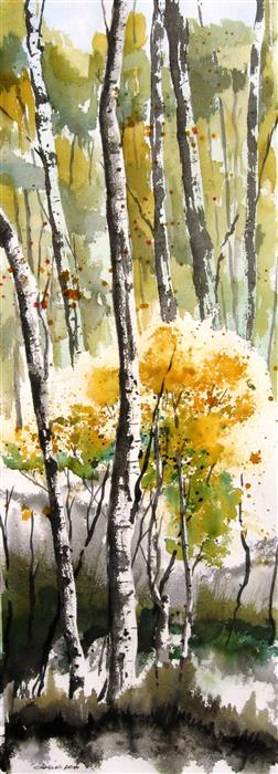 Original art for sale at UGallery.com | Aspen Stand by CHARLES ASH | $975 | Watercolor painting | 30' h x 11' w | http://www.ugallery.com/watercolor-painting-aspen-stand