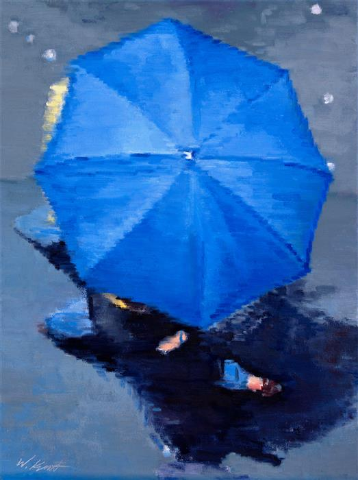 Original art for sale at UGallery.com | Parisian Couple under Blue Umbrella in Paris Rain by WARREN KEATING | $1,675 | Oil painting | 24' h x 18' w | http://www.ugallery.com/oil-painting-parisian-couple-under-blue-umbrella-in-paris-rain