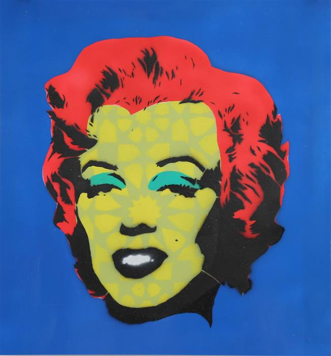 Original art for sale at UGallery.com | Marilyn Monroe in Patterns by KEYVAN SHOVIR | $375 | Mixed media artwork | 15.5' h x 14.75' w | http://www.ugallery.com/mixed-media-artwork-marilyn-monroe-in-patterns
