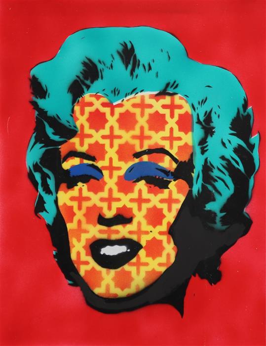 Discover Original Art by Keyvan Shovir | Marilyn Monroe in Red Pattern mixed media artwork | Art for Sale Online at UGallery