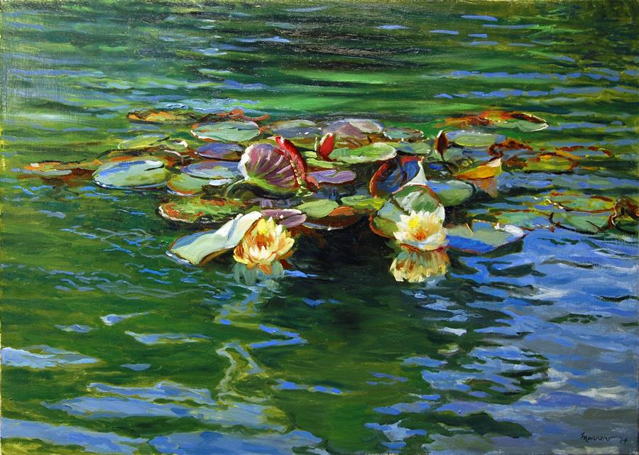 Original art for sale at UGallery.com | Bethesda Fountain Lilies by ONELIO MARRERO | $900 | Oil painting | 22' h x 28' w | http://www.ugallery.com/oil-painting-bethesda-fountain-lilies