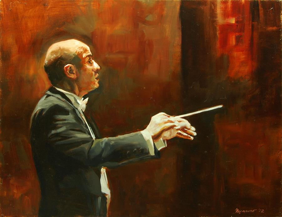 Original art for sale at UGallery.com | Conducting Debussy by ONELIO MARRERO | $575 | Oil painting | 16' h x 20' w | http://www.ugallery.com/oil-painting-conducting-debussy