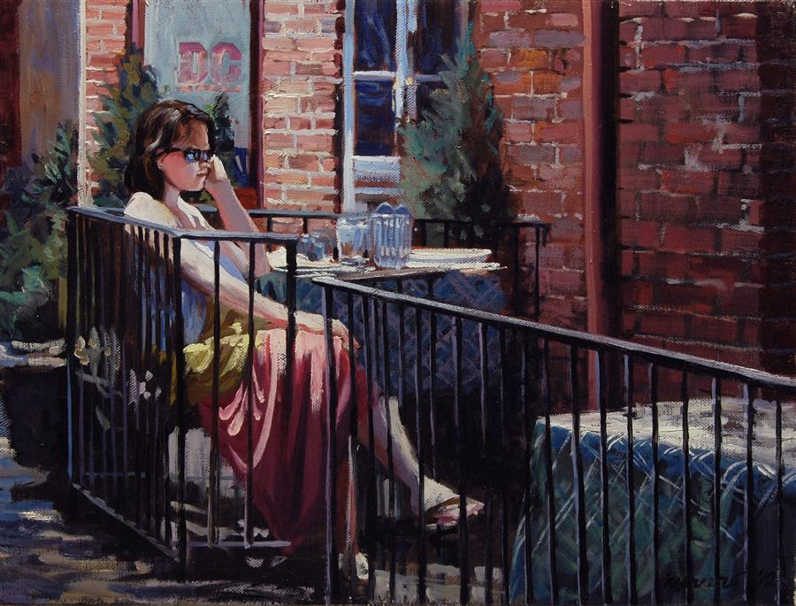 Original art for sale at UGallery.com | Old Town Bistro by ONELIO MARRERO | $525 | Oil painting | 12' h x 16' w | http://www.ugallery.com/oil-painting-old-town-bistro