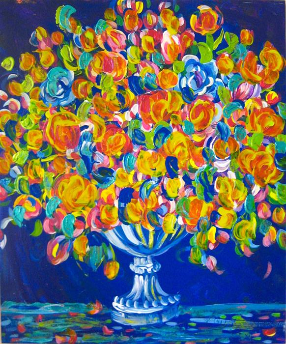 Discover Original Art by Natasha Tayles | Flower Bouquet in Orange acrylic painting | Art for Sale Online at UGallery
