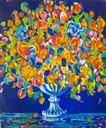 Still Life art,Flora art,Representational art,acrylic painting,Flower Bouquet in Orange