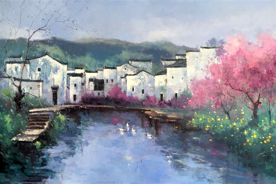 Original art for sale at UGallery.com | Memory of My Hometown 6 by JINGSHEN YOU | $700 | Oil painting | 24' h x 36' w | http://www.ugallery.com/oil-painting-memory-of-my-hometown-6