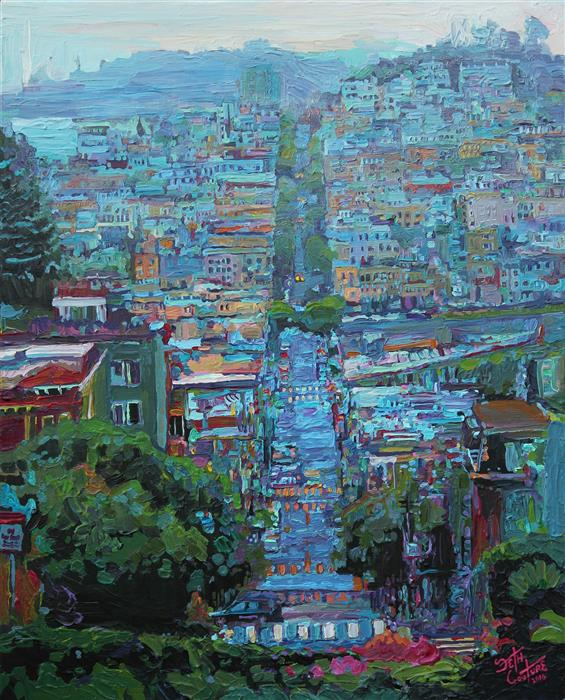 Discover Original Art by Seth Couture | Lombard St after the Rain acrylic painting | Art for Sale Online at UGallery