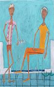 Expressionism art,People art,Representational art,acrylic painting,Late Afternoon Cafe