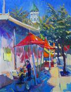 Architecture art,Impressionism art,Travel art,Representational art,oil painting,Red Umbrellas in Hollywood