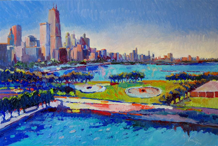 Discover Original Art by Suren Nersisyan | Chicago (Blue Sky) oil painting | Art for Sale Online at UGallery