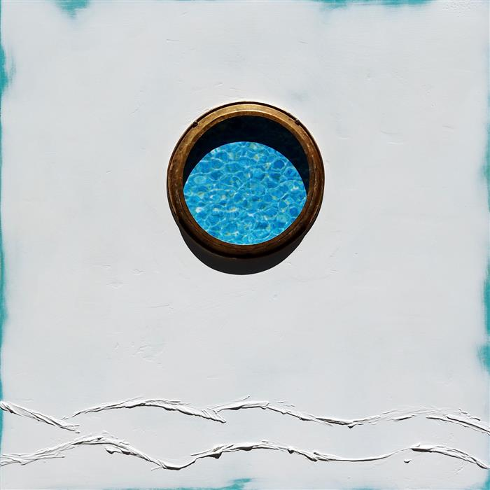 Original art for sale at UGallery.com | Pool Portal by LESLIE MORGAN | $850 | Mixed media artwork | 24' h x 24' w | http://www.ugallery.com/mixed-media-artwork-pool-portal