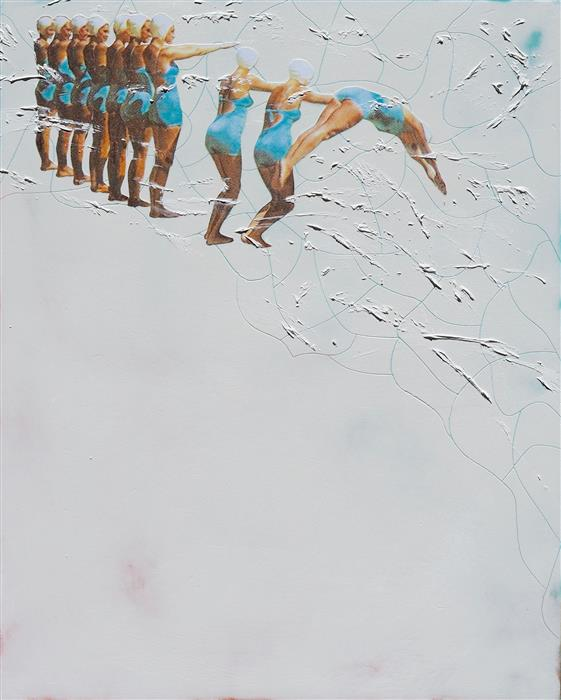 Original art for sale at UGallery.com | Peel Off Ladies by LESLIE MORGAN | $900 | Mixed media artwork | 30' h x 24' w | http://www.ugallery.com/mixed-media-artwork-peel-off-ladies