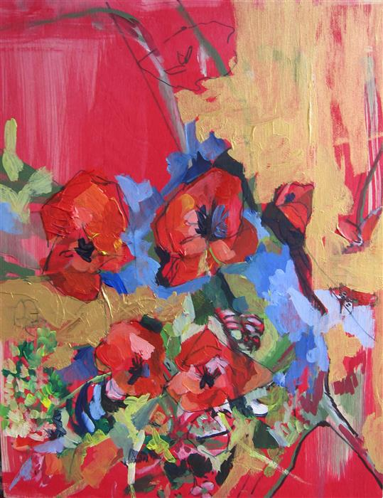 Original art for sale at UGallery.com | Red Blossoms by COLETTE WIRZ NAUKE | $550 | Acrylic painting | 14' h x 11' w | http://www.ugallery.com/acrylic-painting-red-blossoms-45725