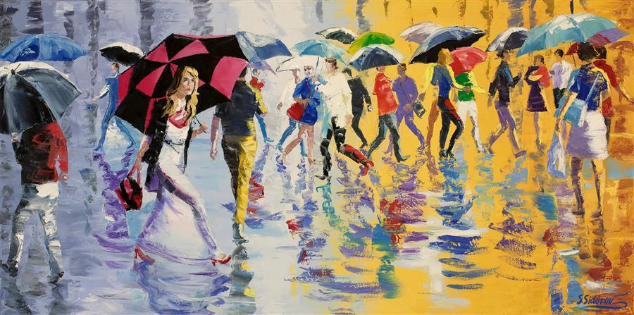 Discover Original Art by Stanislav Sidorov | Showery Afternoon, Busy New York Street oil painting | Art for Sale Online at UGallery