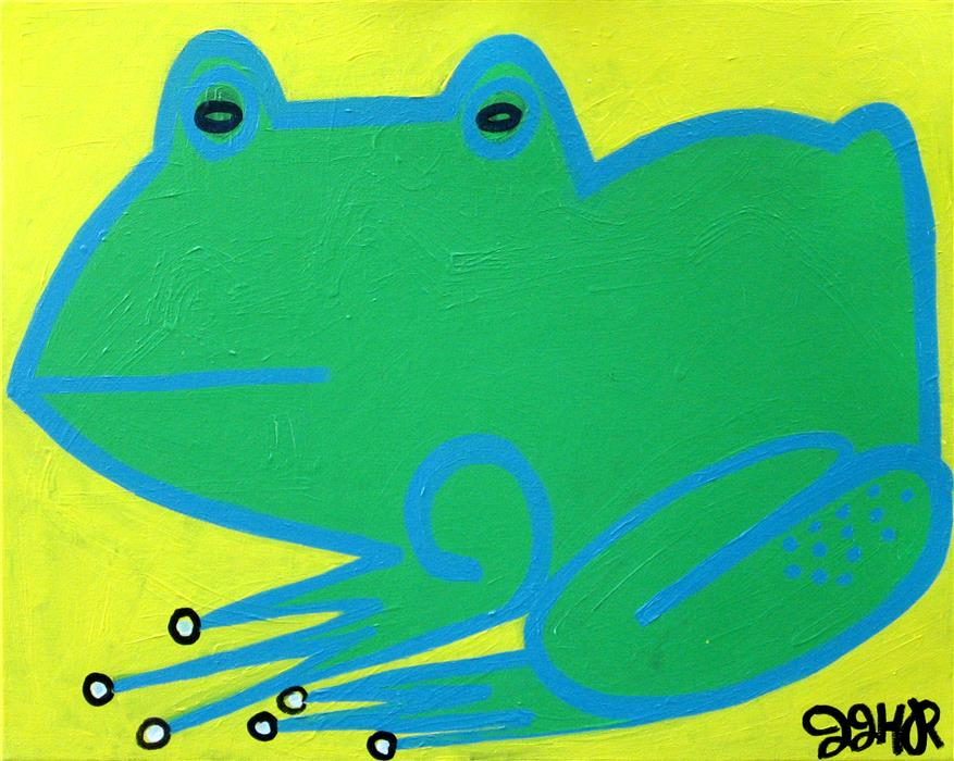 Original art for sale at UGallery.com | Frog by JESSICA JH ROLLER | $575 | Acrylic painting | 16' h x 20' w | http://www.ugallery.com/acrylic-painting-frog