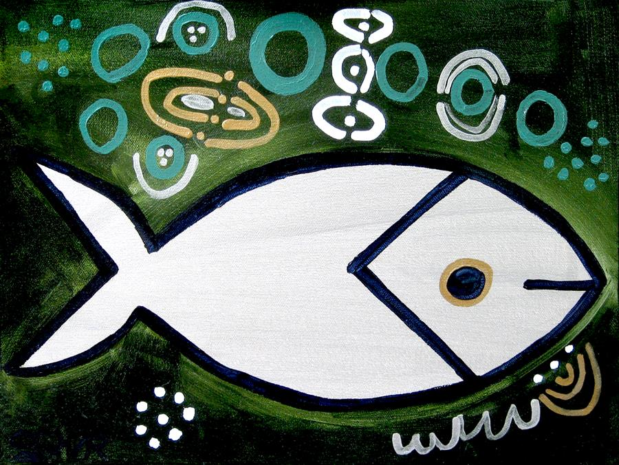 Original art for sale at UGallery.com | Silver Fish by JESSICA JH ROLLER | $375 | Acrylic painting | 12' h x 16' w | http://www.ugallery.com/acrylic-painting-silver-fish