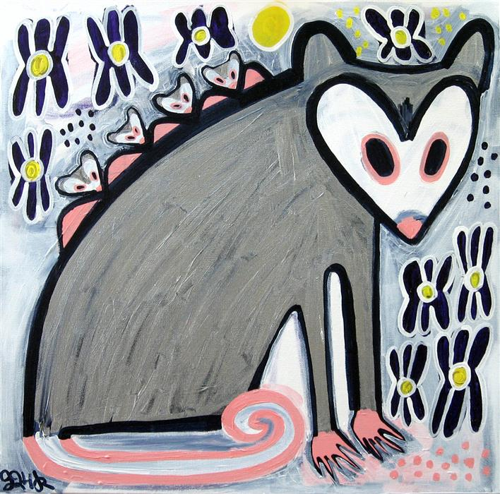 Original art for sale at UGallery.com | Opossum and Her Babies in the Iris by JESSICA JH ROLLER | $700 | Acrylic painting | 20' h x 20' w | http://www.ugallery.com/acrylic-painting-opossum-and-her-babies-in-the-iris