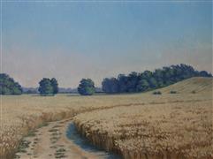 Impressionism art,Landscape art,Representational art,oil painting,At a Wheat Field