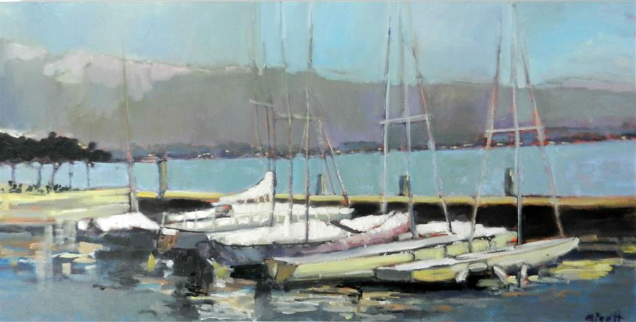 Discover Original Art by Mary Pratt | View from Lake Garda oil painting | Art for Sale Online at UGallery