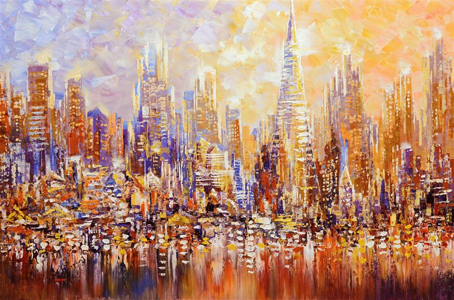 Original art for sale at UGallery.com | San Francisco by the Bay by TATIANA ILIINA | $2,675 | Acrylic painting | 24' h x 36' w | http://www.ugallery.com/acrylic-painting-san-francisco-by-the-bay