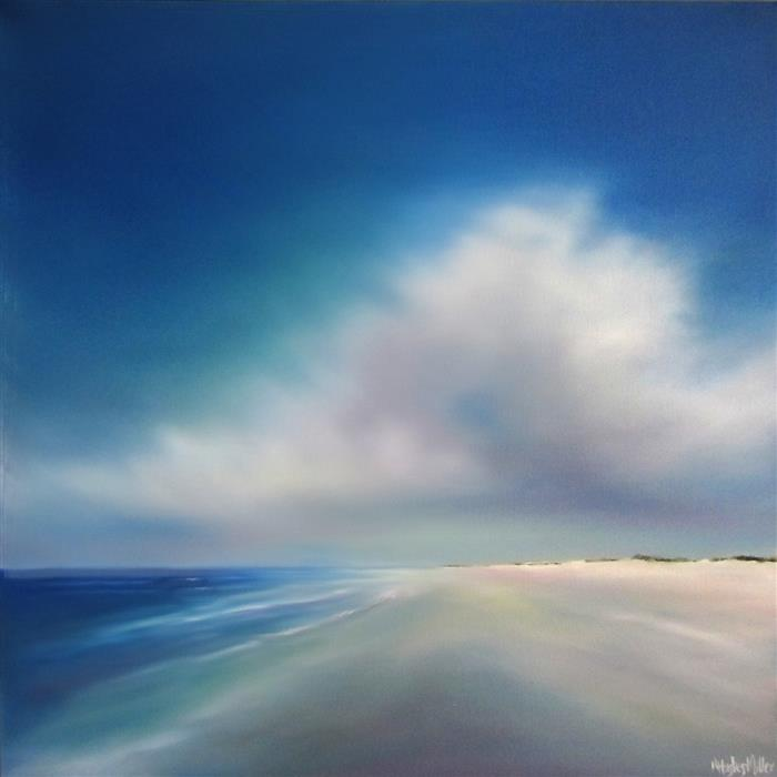 Original art for sale at UGallery.com | Quiet Beach Cloud by NANCY HUGHES MILLER | $725 | Oil painting | 20' h x 20' w | http://www.ugallery.com/oil-painting-quiet-beach-cloud