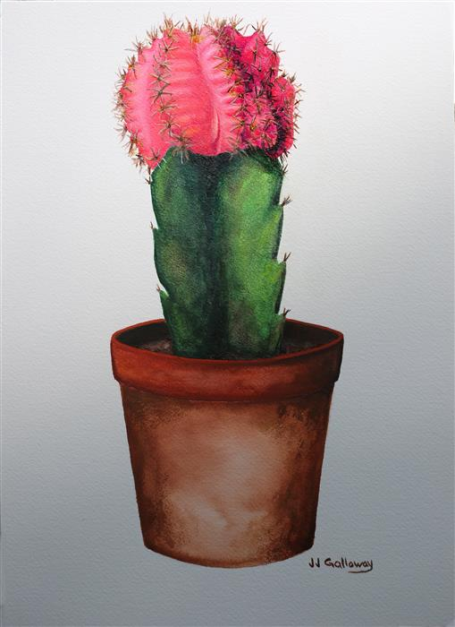 Discover Original Art by JJ Galloway | Pink Moon Cactus watercolor painting | Art for Sale Online at UGallery