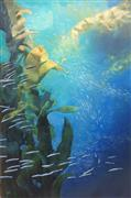 Seascape art,Representational art,acrylic painting,Kelp Forest