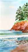 Seascape art,Representational art,watercolor painting,Continental Edge