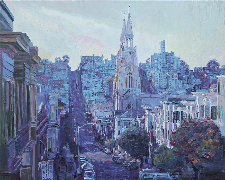Original art for sale at UGallery.com | Looking West on Grant and Filbert, Late Afternoon by SETH COUTURE | $775 | Acrylic painting | 16' h x 20' w | http://www.ugallery.com/acrylic-painting-looking-west-on-grant-and-filbert-late-afternoon