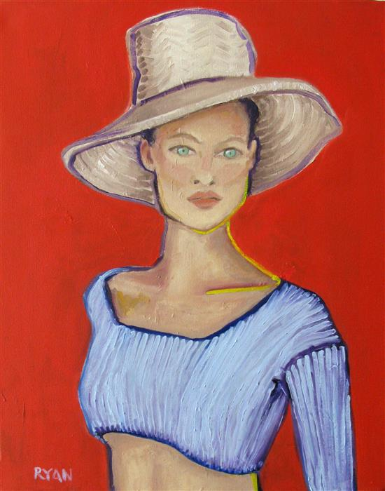 Discover Original Art by Rachael Ryan | Girl with a Straw Hat oil painting | Art for Sale Online at UGallery