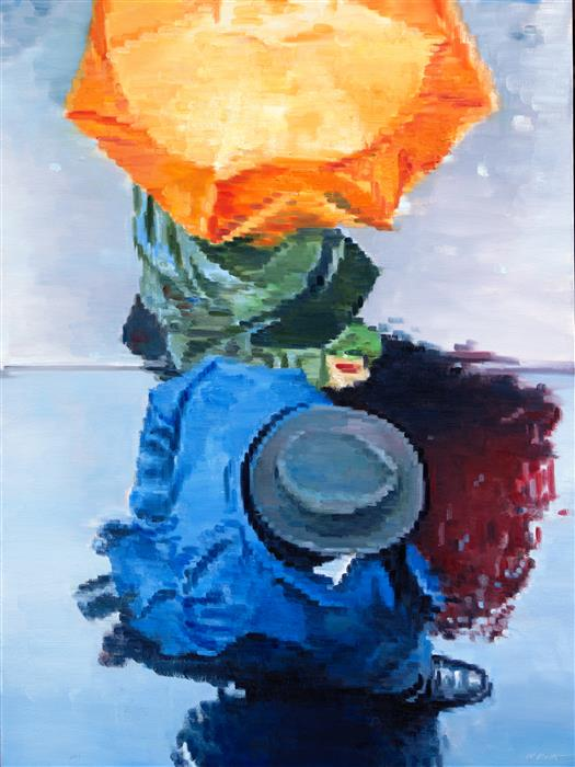 Discover Original Art by Warren Keating | Couple under Orange Umbrella in Paris oil painting | Art for Sale Online at UGallery