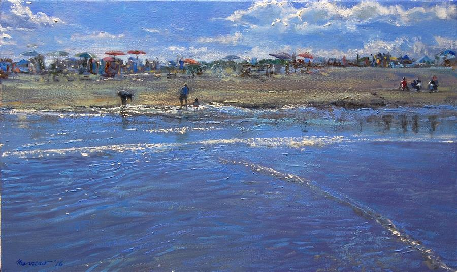Original art for sale at UGallery.com | Low Tide Pickers by ONELIO MARRERO | $600 | Oil painting | 12' h x 20' w | http://www.ugallery.com/oil-painting-low-tide-pickers