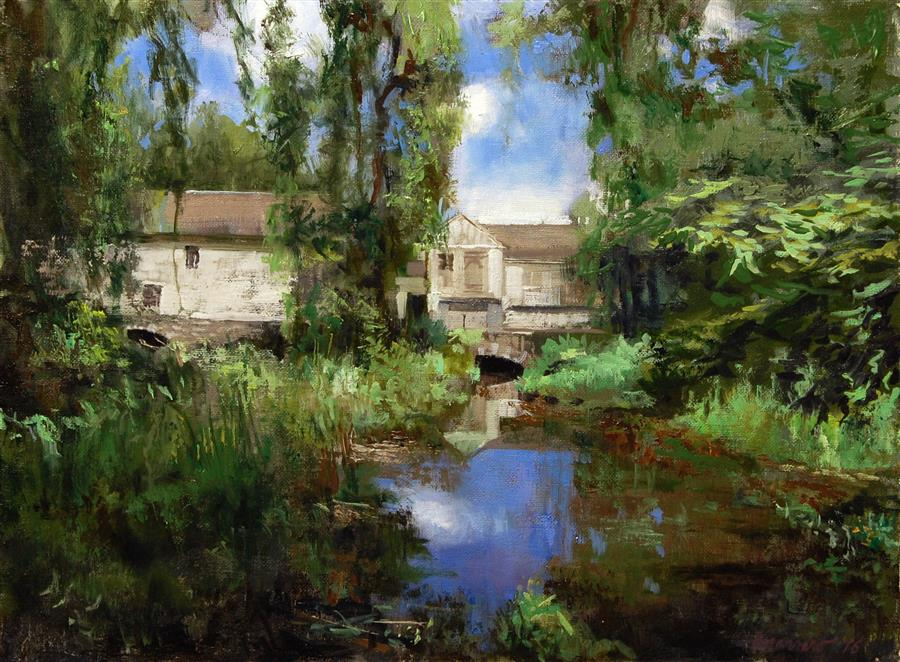 Original art for sale at UGallery.com | The Mill At Waterloo Village by ONELIO MARRERO | $475 | Oil painting | 12' h x 16' w | http://www.ugallery.com/oil-painting-the-mill-at-waterloo-village