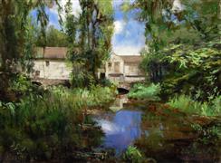 Architecture art,Impressionism art,Landscape art,Representational art,oil painting,The Mill At Waterloo Village